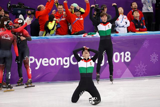 Short Track Speed Skating Events - Pyeongchang 2018 Winter Olympics - Men's 5000m Relay Final - Gangneung Ice Arena - Gangneung, South Korea - February 22, 2018 - Hungary's team reacts to winning gold. REUTERS/John Sibley TPX IMAGES OF THE DAY