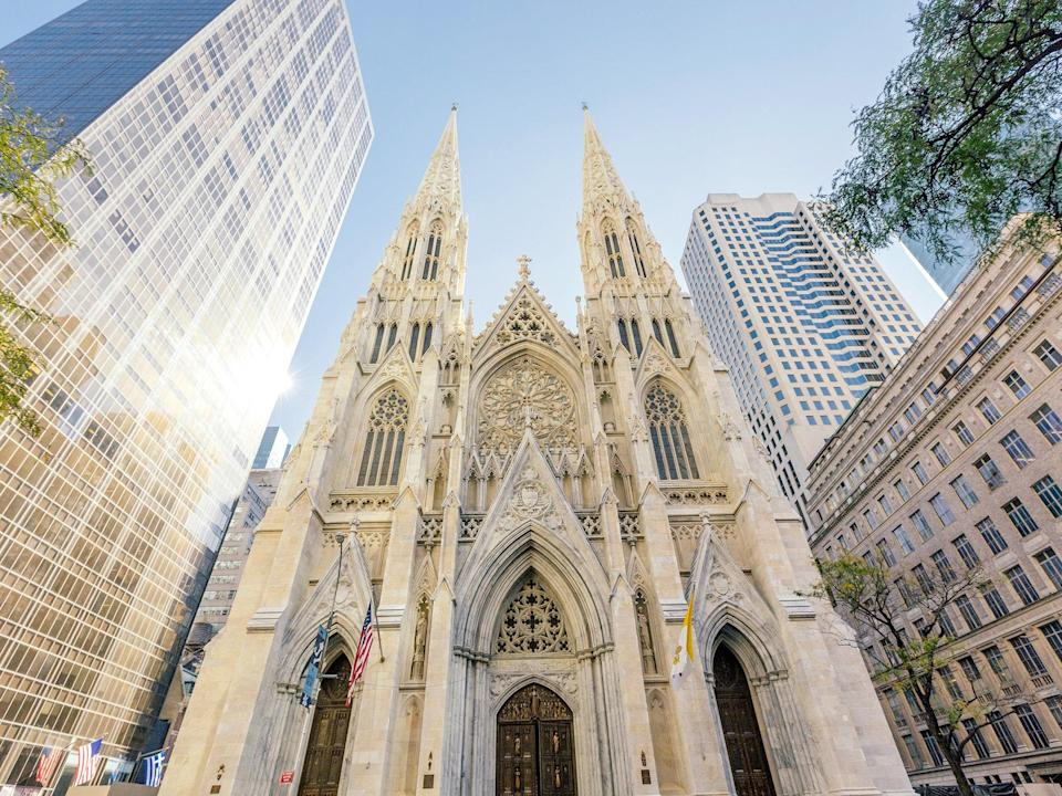 """St. Patrick's Cathedral is perhaps the best known of <a href=""""https://www.cntraveler.com/destinations/new-york-city?mbid=synd_yahoo_rss"""" rel=""""nofollow noopener"""" target=""""_blank"""" data-ylk=""""slk:New York City's"""" class=""""link rapid-noclick-resp"""">New York City's</a> holy sites. The Neo-Gothic Roman Catholic church, erected between 1858 and 1878, sits pretty among the skyscrapers on 5th Avenue, becoming a flurry of activity during daily Mass services—and the occasional wedding, of course."""