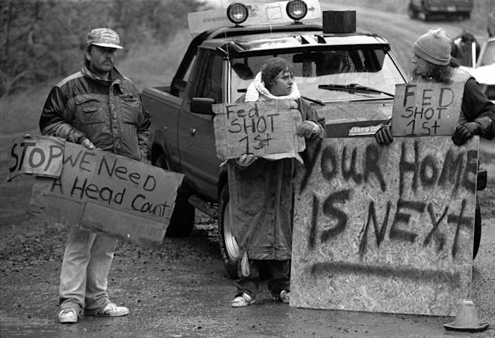 Randy Weaver supporters at Ruby Ridge in northern Idaho.