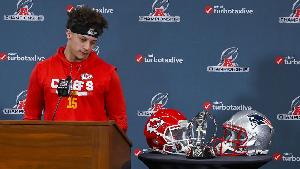 In a regular-season loss to the Patriots, Patrick Mahomes went 23-for-36 for 352 yards, four touchdowns and two interceptions. A win this time against New England earns a trip to Super Bowl LII. (Getty Images)