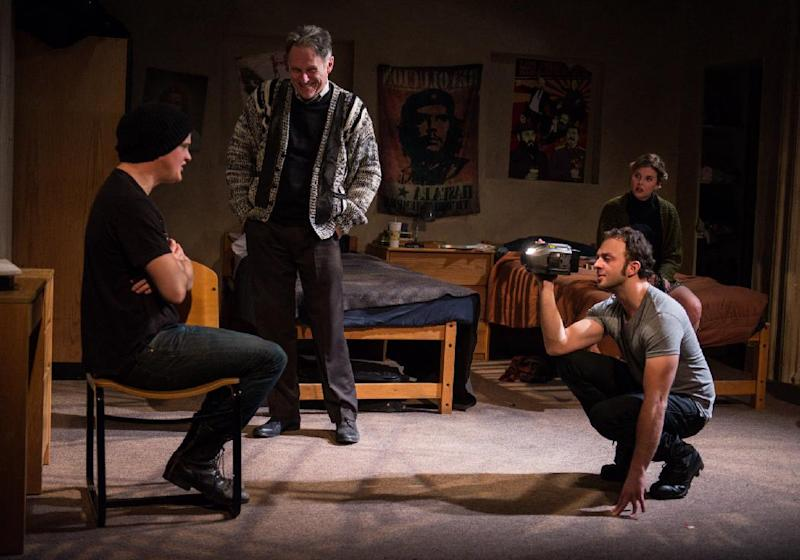 """This undated theater image released by DARR Publicity shows, from left,  Nick Lawson, Michael Cullen, James Kautz and Anna Stromberg, in a scene from """"Collision"""" performing off-Broadway at the Rattlestick Playwrights Theater in New York. (AP photo/DARR Publicity, Russ Rowland)"""