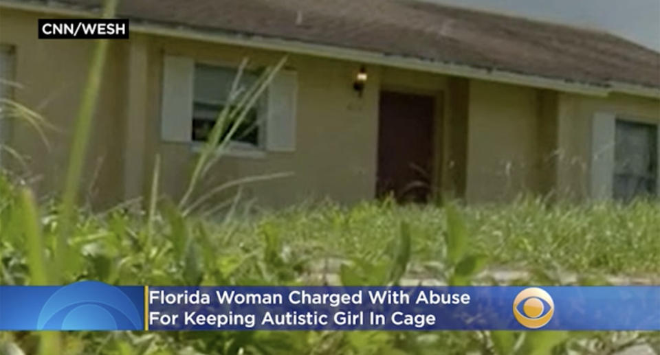 Melissa Doss' home where her autistic daughter was reportedly kept in a cage.
