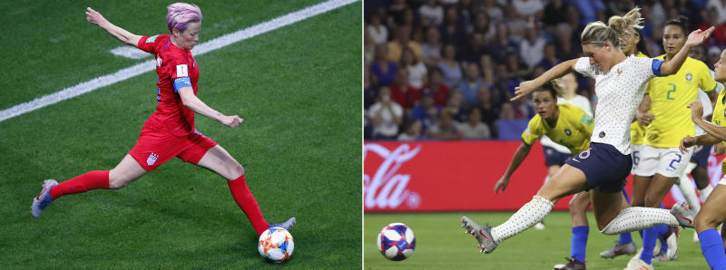 FILE - At left, in a June 11, 2019, file photo, United States' Megan Rapinoe kicks the ball during the Women's World Cup soccer match against Thailand at the Stade Auguste-Delaune in Reims, France. At right, in a June 23, 2019, file photo, France's Amandine Henry scores during the Women's World Cup round of 16 soccer match against Brazil at the Oceane stadium in Le Havre, France. On Friday, June 28, the United States and France will clash in a quarterfinal match. The match, while great for the sport, also means one of the favorites will be headed home on Saturday. (AP Photo/File)