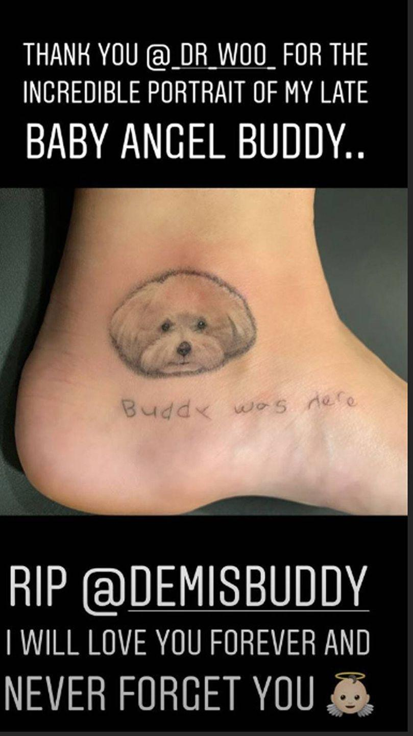 """<p>Demi decided to get some a new tattoo in honor of her late dog, Buddy. It was done by celebrity tattoo artist, Dr. Woo, and features a small photo of buddy with the line, """"buddy was here."""" </p>"""