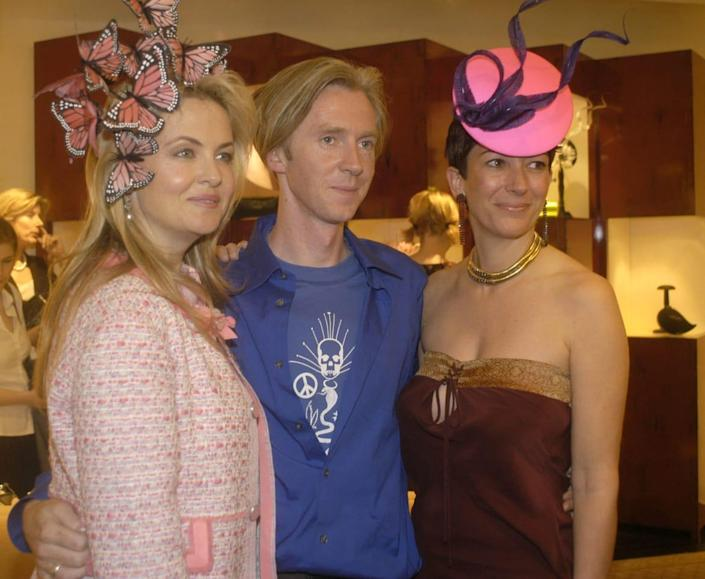 """<div class=""""inline-image__title""""> 1935446 </div> <div class=""""inline-image__caption""""> <p>Cornelia Guest, Phillip Treacy and Ghisliane Maxwell pose for a picture as they attend a cocktail reception hosted by Cornelia Guest to honor Philip Treacy at the Bergdorf Goodman April 15, 2003 in New York City.</p> </div> <div class=""""inline-image__credit""""> Myrna Suarez/Getty </div>"""