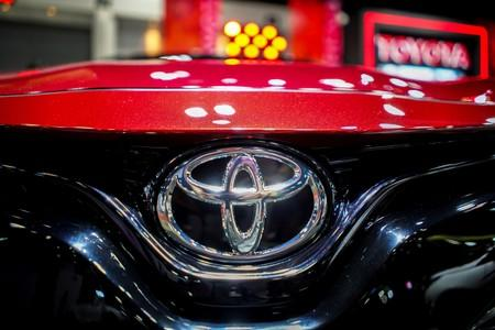 FILE PHOTO: The logo of Toyota is pictured at the Bangkok Auto Salon 2019