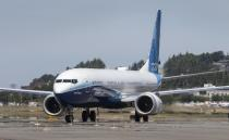 After landing, the final version of the 737 MAX, the MAX 10, taxis towards the Seattle Delivery Center at Boeing Field after a trip to Eastern Washington Friday June 18, 2021. The plane took off earlier Friday morning from Renton Airport on its first flight. (Ellen M. Banner/The Seattle Times via AP, Pool)