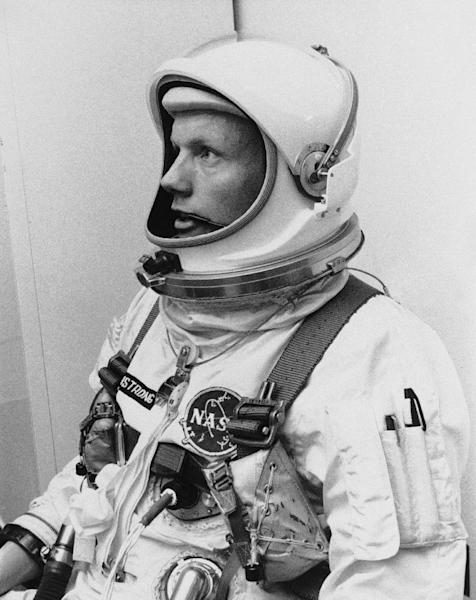 """FILE - In this March 6, 1966 file photo Astronaut Neil Armstrong, pilot for the Gemini VIII mission is shown. The family of Neil Armstrong, the first man to walk on the moon, says he died Saturday, Aug. 25, 2012, at age 82. A statement from the family says he died following complications resulting from cardiovascular procedures. It doesn't say where he died. Armstrong commanded the Apollo 11 spacecraft that landed on the moon July 20, 1969. He radioed back to Earth the historic news of """"one giant leap for mankind."""" Armstrong and fellow astronaut Edwin """"Buzz"""" Aldrin spent nearly three hours walking on the moon, collecting samples, conducting experiments and taking photographs. In all, 12 Americans walked on the moon from 1969 to 1972. (AP Photo/FILE)"""