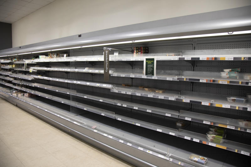 Empty supermarket shelves of what should be full of meat as people continue to stockpile food due to the Covid-19 outbreak on 22nd March 2020 in London, England, United Kingdom. Coronavirus or Covid-19 is a new respiratory illness that has not previously been seen in humans. While much or Europe has been placed into lockdown, the UK government has announced more stringent rules as part of their long term strategy, and in particular 'social distancing'. (photo by Mike Kemp/In PIctures via Getty Images)