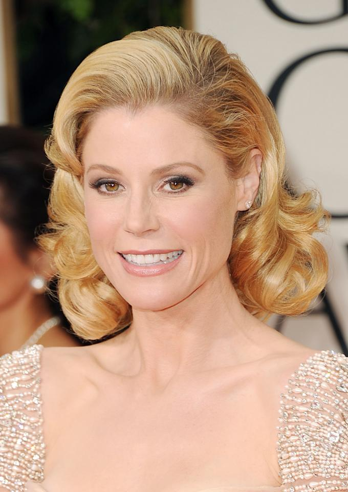 WORST: Julie Bowen arrives at the 69th Annual Golden Globe Awards in Beverly Hills, California, on January 15.