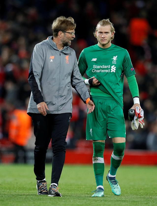 Soccer Football - Champions League Semi Final First Leg - Liverpool vs AS Roma - Anfield, Liverpool, Britain - April 24, 2018 Liverpool manager Juergen Klopp speaks with Loris Karius after the match REUTERS/Phil Noble