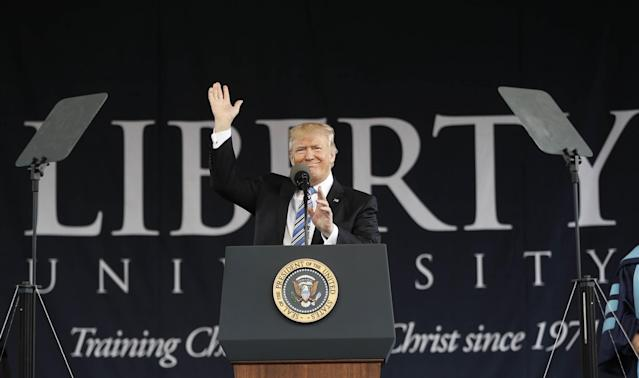 President Donald Trump gives the commencement address for the Class of 2017 at Liberty University in Lynchburg, Va., Saturday, May 13, 2017. (AP)