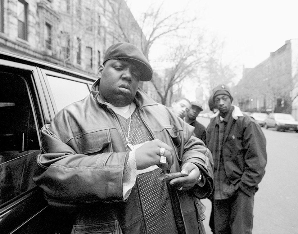 <p>The Notorious B.I.G. outside his mother's house in in January 1995.</p>