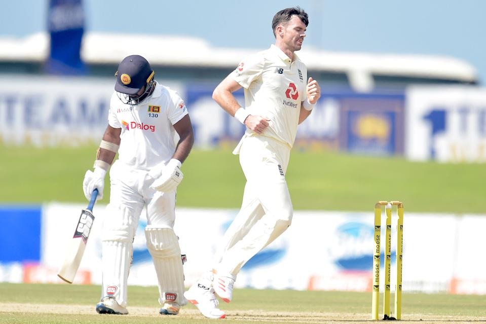 James Anderson celebrates the wicket of Kusal Perera (SLC)