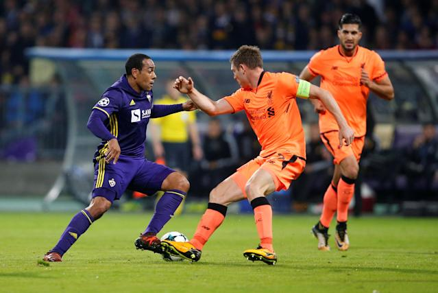 Soccer Football - Champions League - Maribor vs Liverpool - Ljudski vrt, Maribor, Slovenia - October 17, 2017 NK Maribor's Marcos Tavares in action with Liverpool's James Milner REUTERS/Srdjan Zivulovic