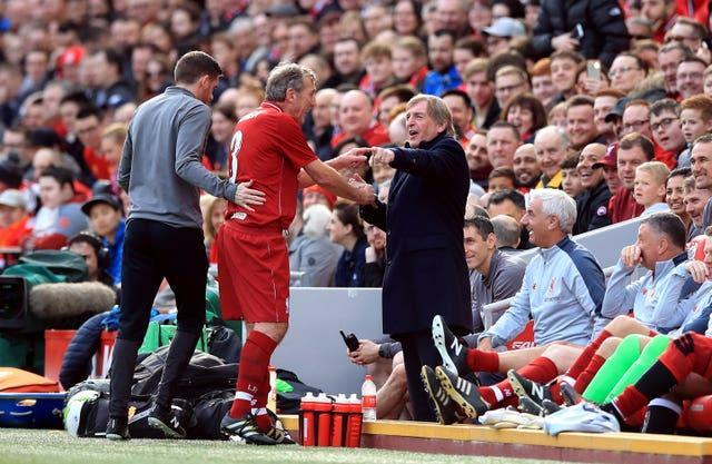 Alan Kennedy and Kenny Dalglish were reunied during a Liverpool legends match
