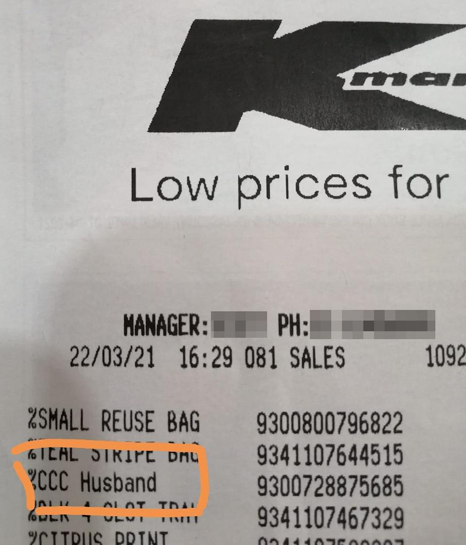 A Kmart receipt is pictured with the item '%CCC Husband' highlighted.