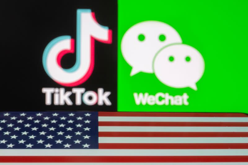 U.S. flag is seen on a smartphone in front of displayed Tik Tok and WeChat logos in this illustration