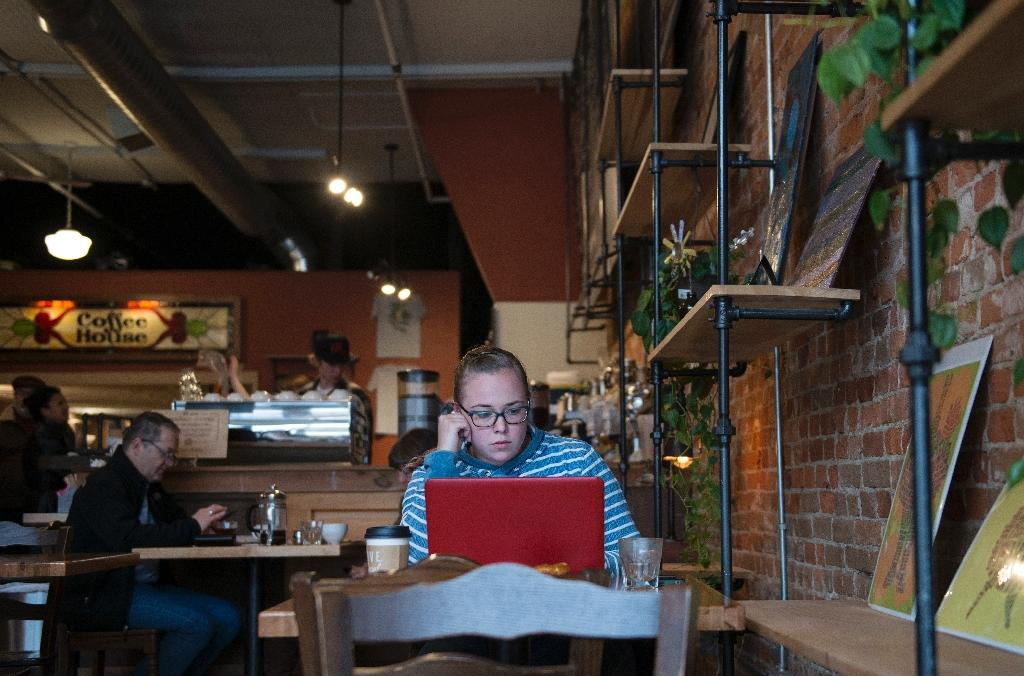 Chelsey Mingone, 26, a Hillary Clinton supporter and resident of Olmsted County works on her laptop at the Steam Cafe in Rochester, Minnesota on November 29, 2016 (AFP Photo/STEPHEN MATUREN)