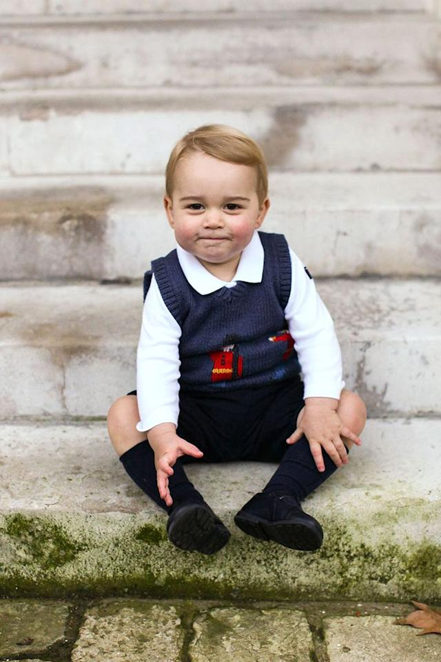 <p>Prince George seemed pleased with his festive #OOTD as he posed for his first official Christmas portraits at Kensington Palace.  </p>