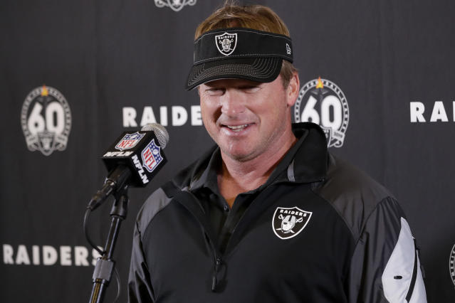 FILE - In this Dec. 22, 2019, file photo, Oakland Raiders head coach Jon Gruden speaks during a news conference after an NFL football game against the Los Angeles Chargers in Carson, Calif. The NFL Draft is April 23-25, 2020. (AP Photo/Marcio Jose Sanchez, Fle)