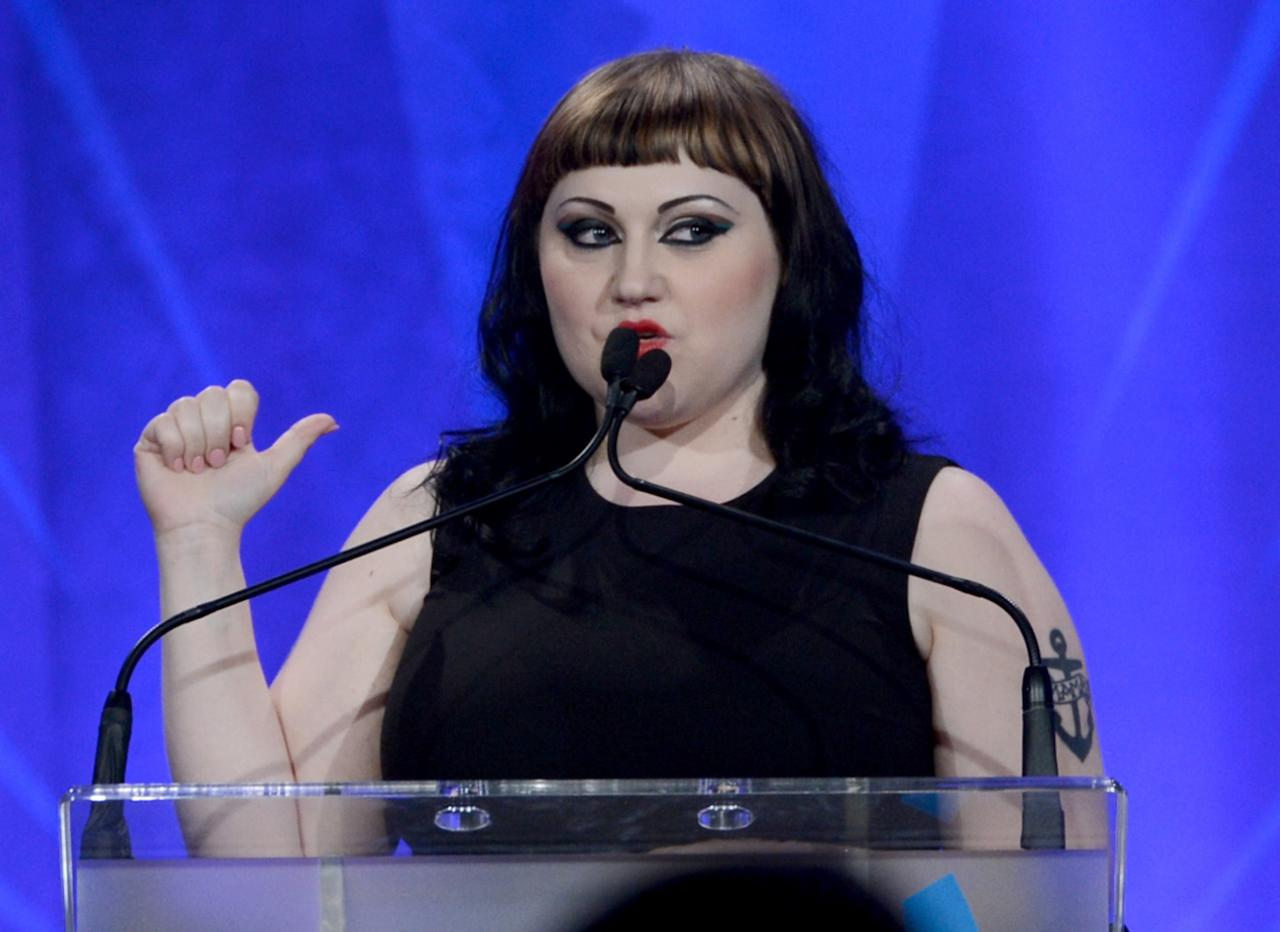 LOS ANGELES, CA - APRIL 20:  Singer Beth Ditto speaks onstage during the 24th Annual GLAAD Media Awards presented by Ketel One and Wells Fargo at JW Marriott Los Angeles at L.A. LIVE on April 20, 2013 in Los Angeles, California.  (Photo by Kevin Winter/Getty Images for GLAAD)