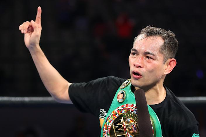 CARSON, CALIFORNIA - MAY 29: Nonito Donaire celebrates his fourth round KO win against Nordine Oubaali after their WBC World Bantamweight Championship bout at Dignity Health Sports Park on May 29, 2021 in Carson, California. (Photo by Katelyn Mulcahy/Getty Images)