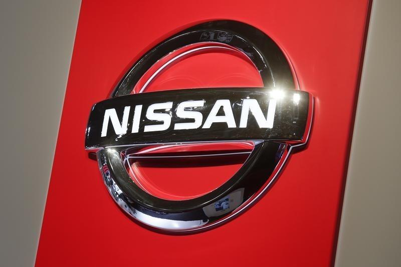 A Nissan logo is seen on media day at the Paris Mondial de l'Automobile