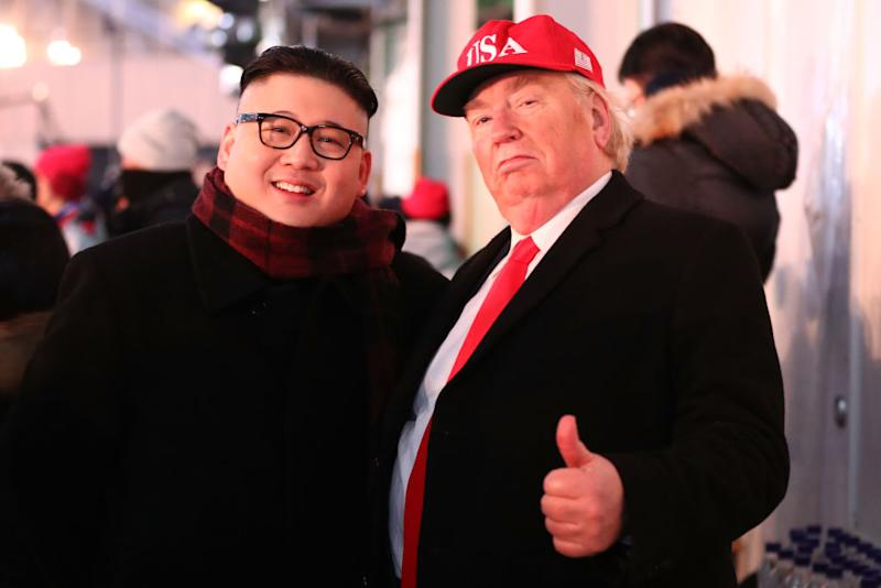 Kim Jong-un and Donald Trump impersonators pictured at the opening ceremony (Picture: Getty)