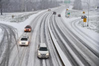 <p>Drivers take it easy on Wednesday afternoon on Route 422 in West Reading, Pennsylvania.</p>
