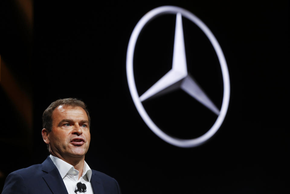 Tobias Moers, Chairman of the Management Board, Mercedes-AMG speaks at the North American International Auto Show in Detroit, Monday, Jan. 9, 2017. (AP Photo/Paul Sancya)