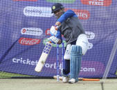India's MS Dhoni bats in the nets during a training session ahead of their Cricket World Cup match against South Africa at Ageas Bowl in Southampton, England, Monday, June 3, 2019. (AP Photo/Aijaz Rahi)