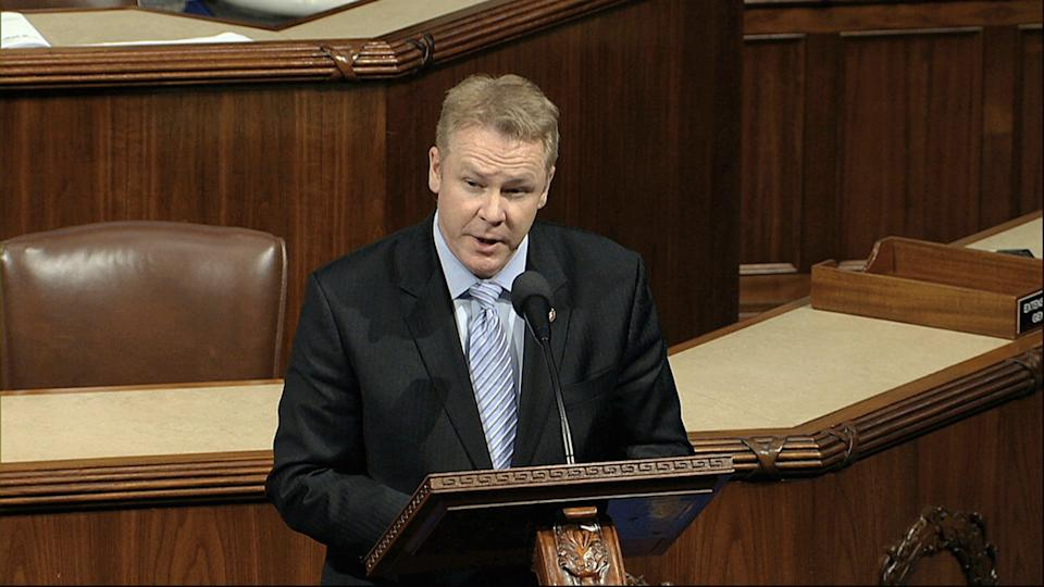 Rep. Warren Davidson, R-Troy, speaks as the House of Representatives debates the articles of impeachment against President Donald Trump last December. Davidson has become increasingly vocal in objecting to health restrictions pushed by a fellow Republican, Gov. Mike DeWine.