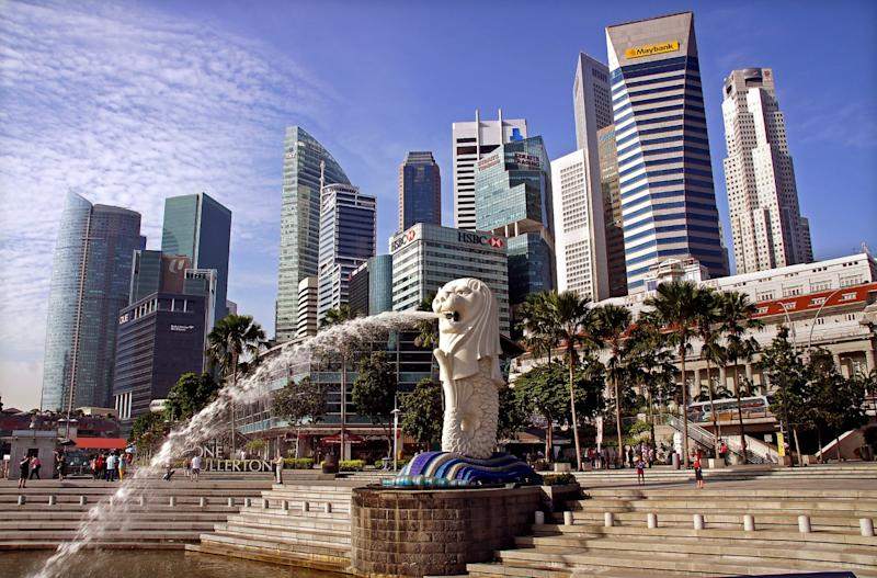 Water streams from the Merlion, Singapore's mythical mascot, in a park near the central business district.