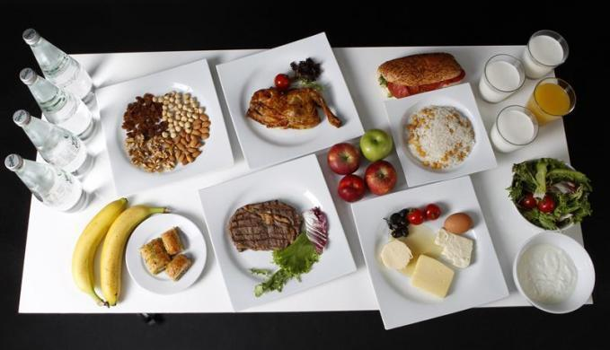 The daily meal intake of Turkish javelin thrower and Olympic hopeful Fatih Avan, 23, is pictured in Ankara May 29, 2012.