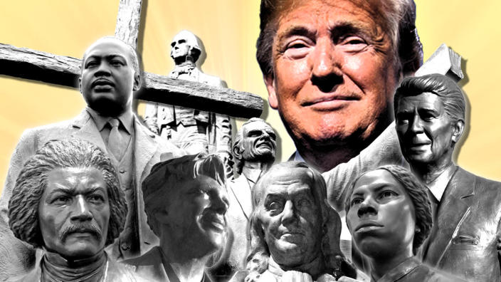Clockwise from bottom left: Statues of Frederick Douglass, Martin Luther King Jr., Henry Clay, Billy Graham, Ronald Reagan, Harriet Tubman, Benjamin Franklin and Amelia Earhart, with Donald Trump above. (Photo illustration: Yahoo News; photos: AP, Getty Images (2), AP, Reuters, Getty Images, AP, Getty Images, AP, Getty Images)