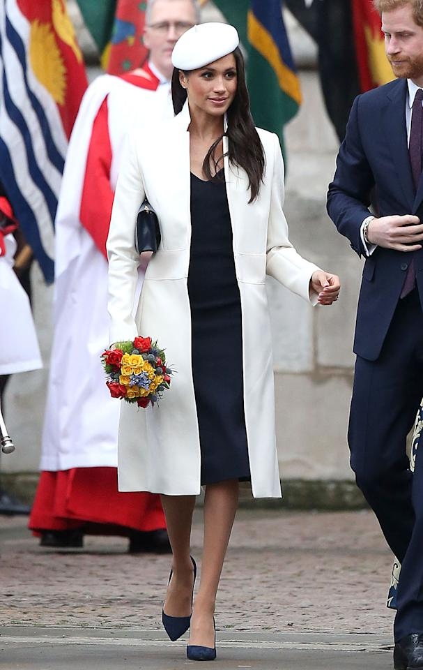 <p>Sie bringt den Streetstyle-Look in den Palast: Meghan Markle erschien mit stylischer Baskenmütze zum Commonwealth Day Service in London. (Bild: Getty Images) </p>