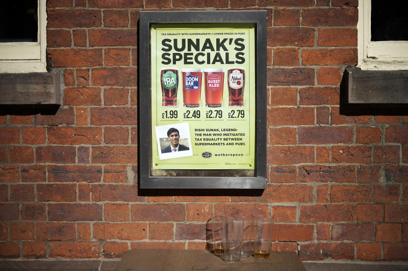 MANCHESTER - SEPTEMBER 25: A poster on the wall of a Wetherspoon pub advertises 'Sunak's Specials' drinks in honour of British Chancellor of the Exchequer Rishi Sunak on September 25, 2020 in Manchester, United Kingdom. (Photo by Christopher Furlong/Getty Images)