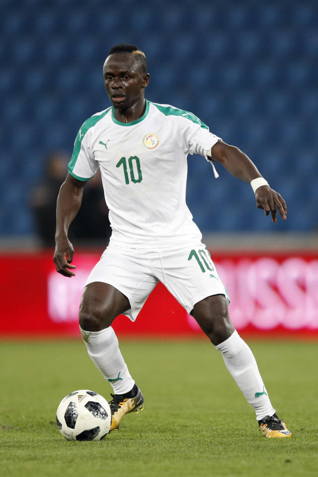 FILE - In this March 27, 2018 file photo Senegal's Sadio Mane controls the ball during a friendly soccer match between Senegal and Bosnia and Herzegovina at the Oceane stadium in Le Havre, northern France. (AP Photo/Francois Mori, file)
