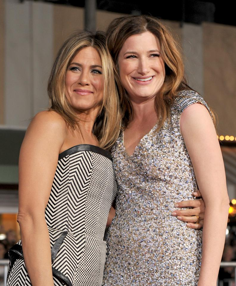 "WESTWOOD, CA - FEBRUARY 16:  Actresses Jennifer Aniston (L) and Kathryn Hahn arrive at the premiere of Universal Pictures' ""Wanderlust"" held at Mann Village Theatre on February 16, 2012 in Westwood, California.  (Photo by Kevin Winter/Getty Images)"