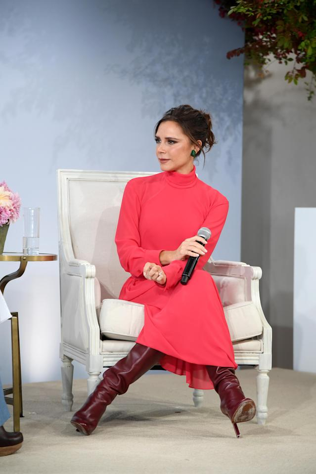Victoria Beckham speaks at <em> Vogue</em>'s Forces of Fashion conference at Milk Studios on Oct. 12, 2017, in New York City. (Photo by Dimitrios Kambouris/Getty Images)