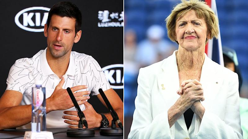 Pictured here, Novak Djokovic answered questions about controversial figure Margaret Court.