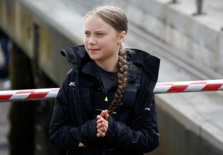 Swedish teenage climate activist Greta Thunberg attends a news conference ahead of her trans-Atlantic boat trip to New York in Plymouth
