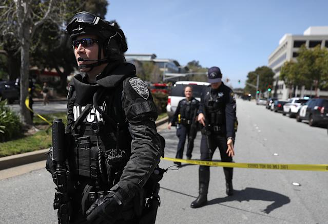 <p>Law enforcement stands watch outside of the YouTube headquarters on April 3, 2018 in San Bruno, Calif. (Photo: Justin Sullivan/Getty Images) </p>