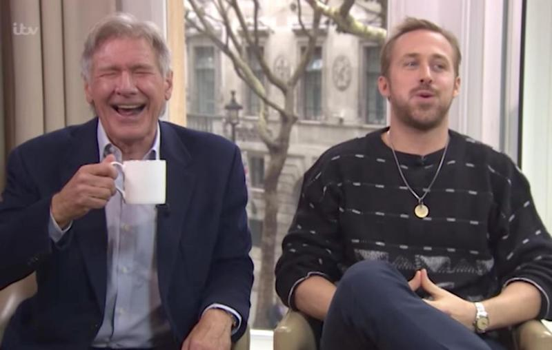 Harrison Ford and Ryan Gosling couldn't stop laughing when they sat down for an interview recently. Source: ITV / This Morning