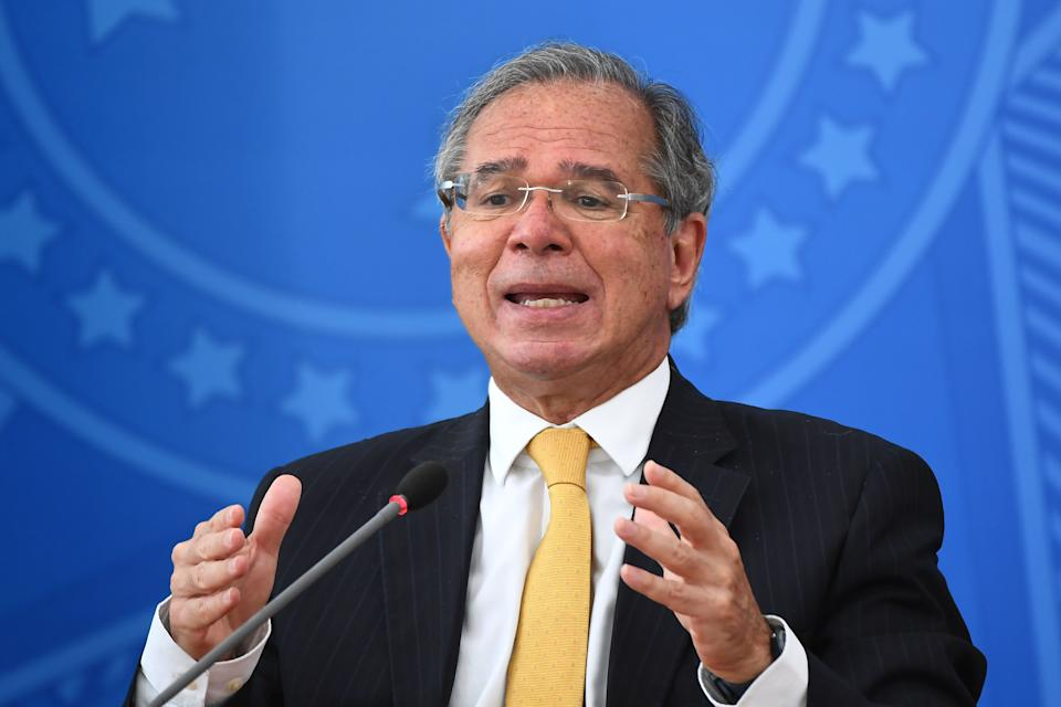 Brazilian Finance Minister Paulo Guedes speaks during a press conference on a new fuel tax policy at Planalto Palace in Brasilia on February 5, 2021. (Photo by EVARISTO SA / AFP) (Photo by EVARISTO SA/AFP via Getty Images)