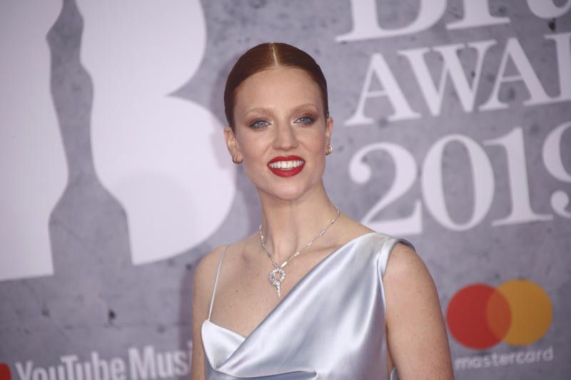 Singer Jess Glynne poses for photographers upon arrival at the Brit Awards in London, Wednesday, Feb. 20, 2019. (Photo by Joel C Ryan/Invision/AP)