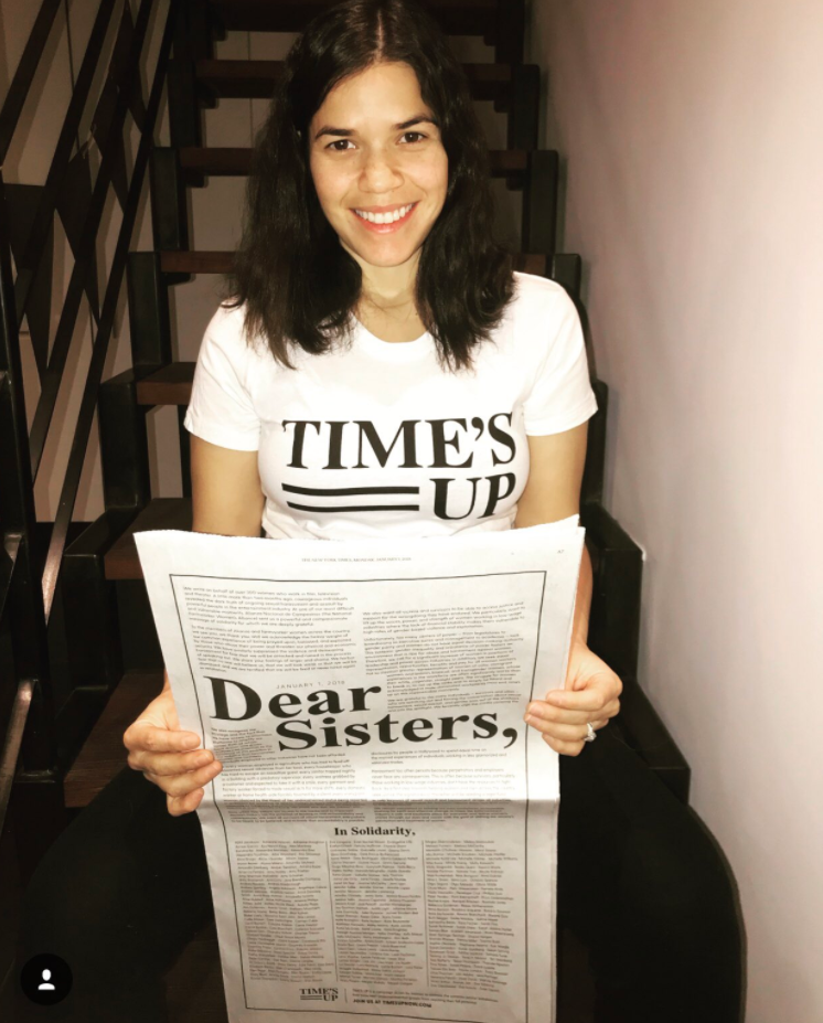 America Ferrera shared this snap of her holding the announcement advert for Times Up. Source: Instagram