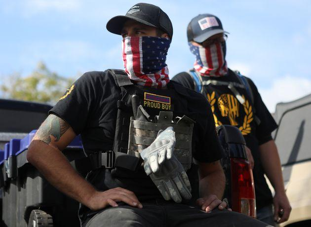 Who Are The Proud Boys? Members of the far-right pro-Trump gang Proud Boys attend a rally in Portland, Orgon.