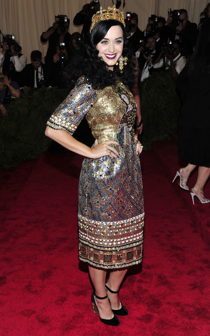 """Katy Perry attends The Metropolitan Museum of Art's Costume Institute benefit celebrating """"PUNK: Chaos to Couture"""" on Monday May 6, 2013 in New York. (Photo by Charles Sykes/Invision/AP)"""